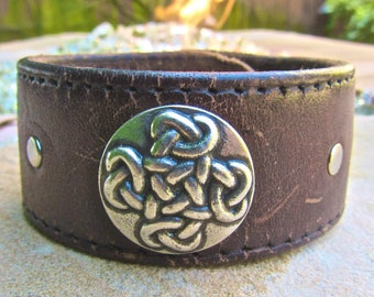 Celtic Warrior Alter Ego Repurposed Brown Leather Cuff