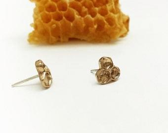 Honeycomb Studs, Bronze earrings, Beehive earrings, Bee Jewelry, Botanical Jewelry, Woodland Jewelry, Nature inspired earrings