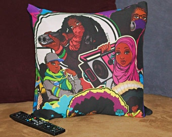 Colorful Afro Girl Pillow Cover/Sham with Black Back