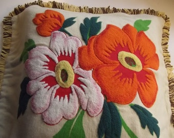 Decorative Pillow Cover. Vintage Handmade  Pillow Cover with Flowers. Polish Vintage 1980s.