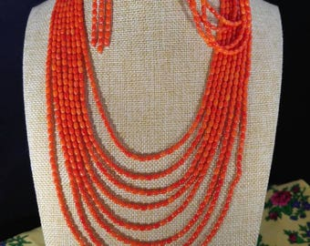 Orange coral rice beads jewelry set, 8 strands necklace, 4 strands bracelet, earrings.