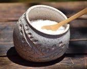 stoneware salt pig / salt cellar with wooden spoon