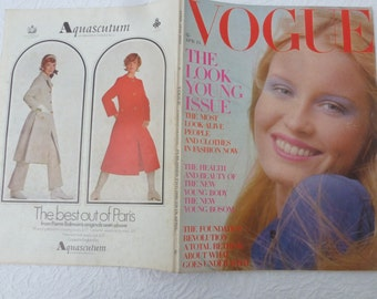 Beauty magazine gift for her Vogue birthday present vintage collectors magazine April 1970 gift fashion magazine Vogue collectible.
