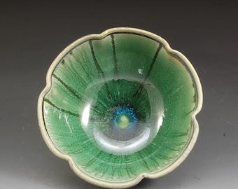 Handmade Pottery Bowl Green and Lavender Stoneware by Mark Hudak