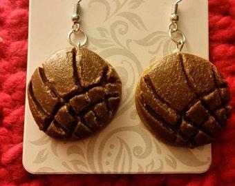 Brown concha pan dulce earrings