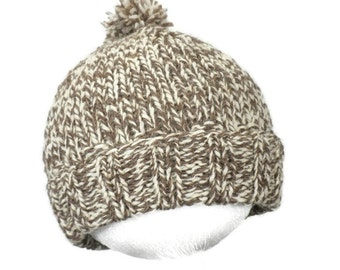 Wool Baby Hat - Hand Knit Tan and White Pom Pom Beanie For Infants 6 to 12 Months - Warm Soft Cap - Child Toboggan - Cozy Winter Toque