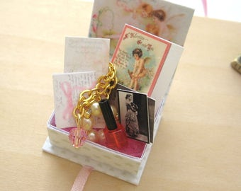 dollhouse cherub   box crystal jewellery gold plated  letters  cards photos 12th scale miniature