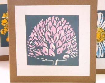 Clover hand printed linocut card
