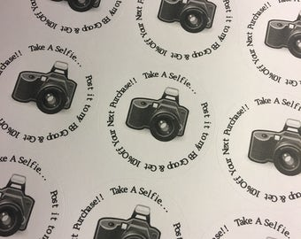 """Custom White Laser Printed Labels for Lipsense Round 2"""" with SELFIE CAMERA 1 Sheet 20 Labels"""