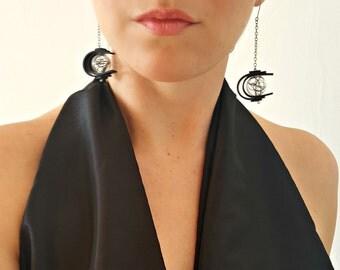 Contemporary earrings Rubber earrings Long earrings Dangle earrings Glass earrings Modern earrings Black earrings Statement earrings