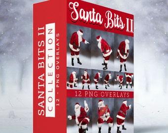 Santa Bits TWO - 12 PNG Overlays