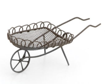 Fairy Garden Wheelbarrow - Rustic Metal Miniature Wheelbarrow Fairy Garden Accessories