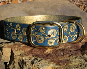 Leather Dog Collar Hand Painted Tooled - 1 1/2 inch WIDE - Large or Medium size Dog - Gorgeous Blue & Gold Floral Vine - Female