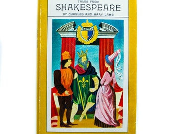 Tales From Shakespeare by Charles and Mary Lamb 1955, with dust jacket, Vintage Library, Simplified William Shakespeare, Yellow