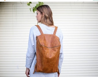 Sale, Brown Leather Backpack,  Women Travel Bag, School Bag, Honey Brown Leather Bag, Handmade