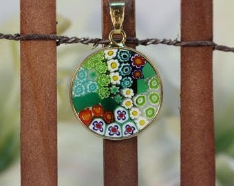18mm Murano Millefiori Pendant 24K Italian Gold Plated Sterling Silver - GRNG#