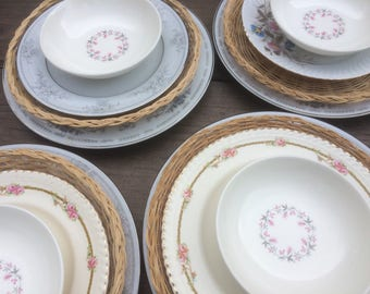 Mismatched china, mismatched plates, tea party, bridal shower plates, Garden party plates, shabby plates, vintage floral plates, 112