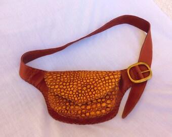 handmade brown leather hipbag