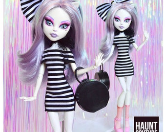 """Monster Doll Haunt Couture: """"Striped Chic"""" mini dress high fashion dress clothes"""