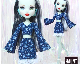 """Monster Doll Haunt Couture: """"Blue Rose"""" mini dress high fashion dress clothes"""