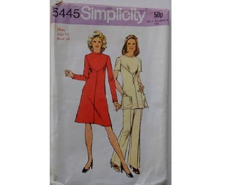 """UNCUT Vintage 70's Simplicity #5445 Sewing Pattern A Line Tunic Dress Top and Trousers Suitable for Knit Jersey Fabric Size UK 16 Bust 38"""""""