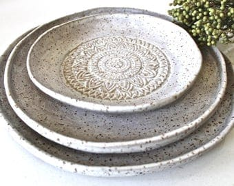 set of 3 handmade pottery white matt organic shape textured dinnerware set - Stoneware Dishes