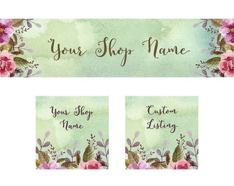 Etsy Cover Photo Set,  Shop Icon, Custom Listing Image, Spring Watercolor, INSTANT DOWNLOAD, Stock Shop Banner, Floral or Craft shops DIY
