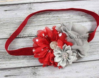 Red and silver dot headband {baby headband, Christmas headband, Canada day headband, Valentine's Day}
