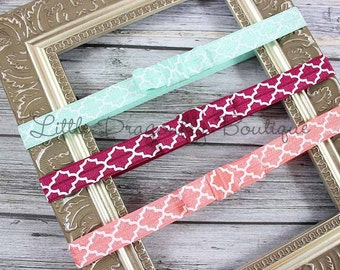 Set of three quatrefoil headband {mini bow headbands, mint, berry, coral headband}
