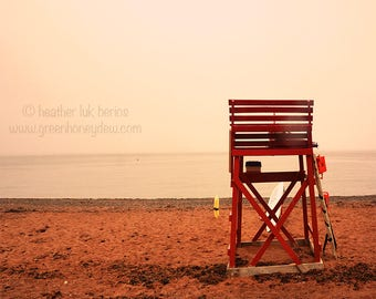 Red Beach Lifeguard Chair Ocean Photography - Wall Decor - Water Landscape Fine Art Print Nature Romantic Beautiful Sandy Sunset Swimming
