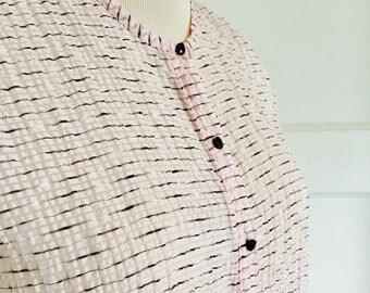 1950's Womans Vintage Sheer Pink White Black Blouse Top Snap Black Jewel Buttons Medium 8 - 10