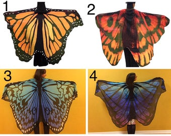 Butterfly wings/veil/shawl/cape lightweight chiffon for dancing or costume