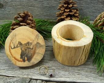 Wooden Jewelry Box Featuring Original Artwork - Moose Head. Rustic Jewelry Box. Handmade Jewelry Box. Moose Lover Gift. Moose Jewelry Box.