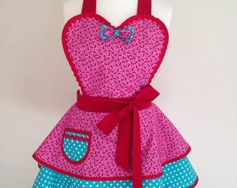 1950s style retro apron pinny in cherry print and turquoise polka dot fabric