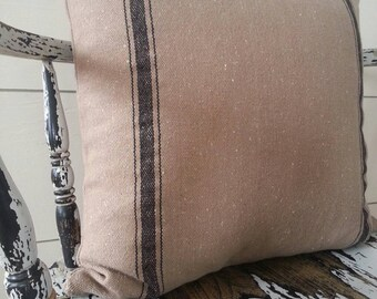 Grain Sack Zippered Pillow Cover/Tan Fabric/Black Stripe