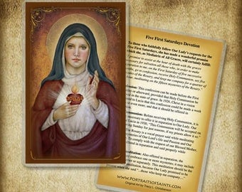 Immaculate Heart of Mary (E) Holy Card or Wood Magnet #0292