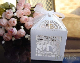 50x White Bird Cage Bomboniere Favour Boxes - Wedding & Party Gift Box