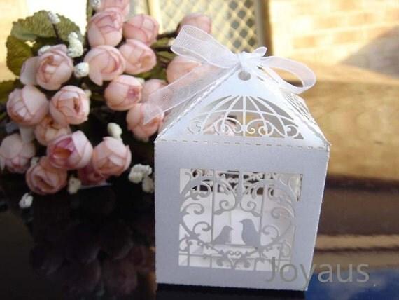 10x White Bird Cage Bomboniere Favour Boxes - Wedding & Party Gift Box
