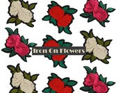 9 pcs Embroidered Iron On Flowers Roses Patches Appliques, Bulk Roses Patches Badges 9 pcs