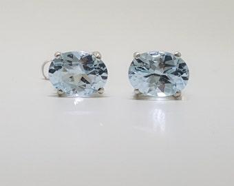 3.89ctw Bolivian Blue Topaz Sterling Silver Stud Earrings