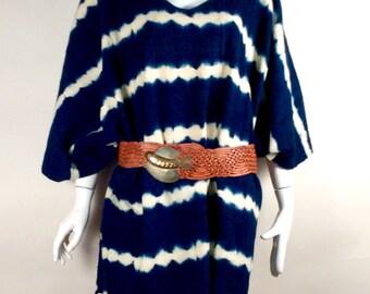 Indigo dye mud cloth poncho serape