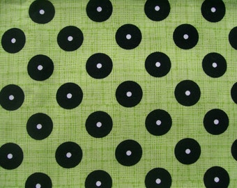 CLEARANCE Black Green Fabric Cotton Quilts Juvenile Nursery 1 Yard