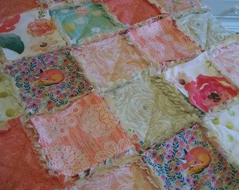 Crib Rag Quilt, Coral Aqua Pink Gold Fox Peach Roses Floral Baby Quilt Baby Girl Crib Bedding Shabby Blanket