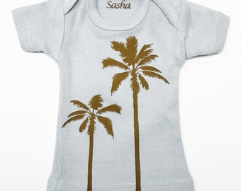 Sasha Doll & MSD sized T-Shirt - Light Blue with Palm Trees