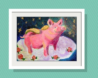 Kids Wall Art  Pig and Roses  Art Print  10 x14 Limited Edition-  Flying Pig - Original acrylic painting - Whimiscal Folk art Pig