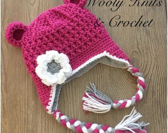 MADE TO ORDER, Crochet Mona & Othello hat, Choose your accent colors, with or without flower, Newborn to Adult sizes
