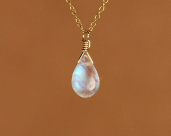 Moonstone necklace - gold moonstone - rainbow moonstone - june birthstone - a wire wrapped polished moonstone on a 14k gold vermeil chain