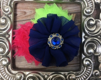 Hair clip: Royal blue, hot pink and lime green hair flower, girls flower hair clip, royal blue hair accessory, floral hair clip