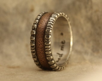 Rustic mans wedding engagement ring of sterling silver and copper. Mans engagement ring. Mans wedding ring.