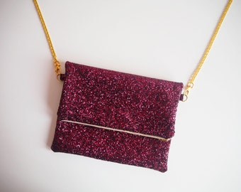 Deep Plum Fold Over Clutch Bag, Maroon Glitter Fold Over Bag, YKK zip, Fold Over Glitter Clutch with Gold Strap, Plum Crossbody Bag,